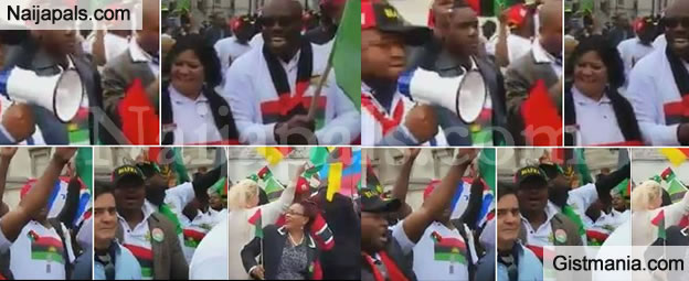 JUST IN! IPOB Members Storm UN Office To Protest Against Buhari In New York - Photos+Video