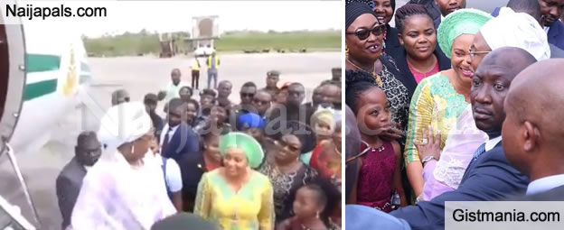 Security Scare At AkwaIbom Airport As Akpabio's Wife, Unoma Disrupts Protocol To Receive Aisha Buhari (VID)