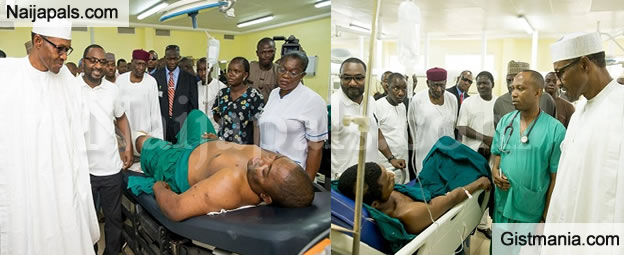 PHOTOS: President Buhari Visits Abuja Blast Victims In Hospital