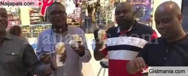 Billionaire, Aliko Dangote And His friends Were Spotted Licking Gelato While Singing 'Gelato'