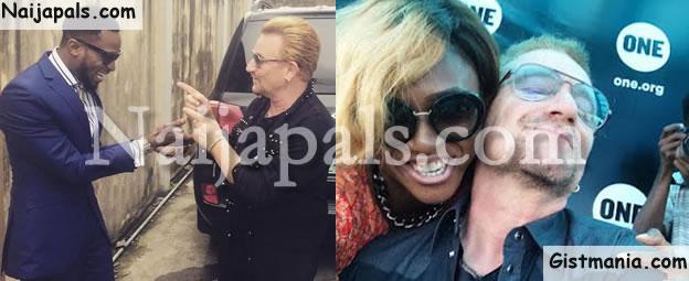 PHOTOS: Waje and Dbanj Get Cossy With U2 Rockstar, Bono On His Visit To Nigeria