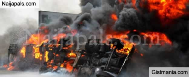 SAD! Tension As Petrol Tanker Mysteriously Catches Fire In Ogun State