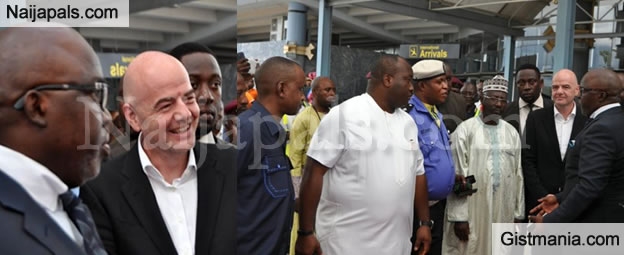 NFF President Pinnick Received FIFA President Gianni Infantino As He Arrives Nigeria (Pics)