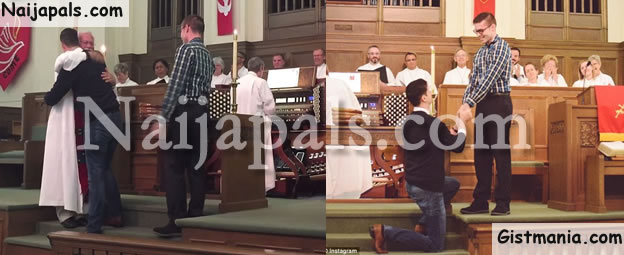 PHOTOS: Gay Guy Proposes To Boyfriend In Church And The Congregation Applauds