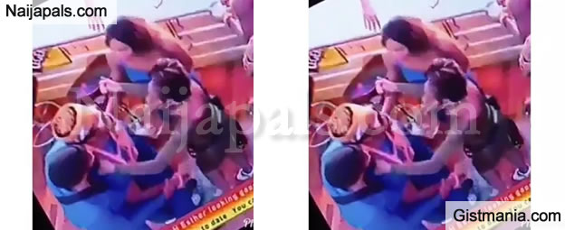"""#BBNAIJA : Ike Fights Tuoyo After He Caught Him """"Rocking"""" His Partner, Mercy (Video)"""