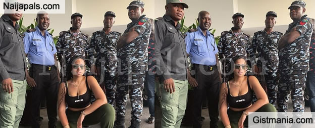 Jordyn Woods Looks Adorable As She Strikes A Pose With Members Of The Nigerian Police In Lagos (PIC)