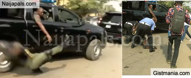 Policeman Falls Off Moving Van While Jubilating Over The Reversal Of Lagos Police Commissioner, Imohimi's Transfer (VID)