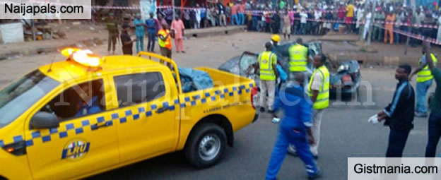 OMG! Oil Tanker Falls On A Car Leaving One Person Dead In Lagos - Photos