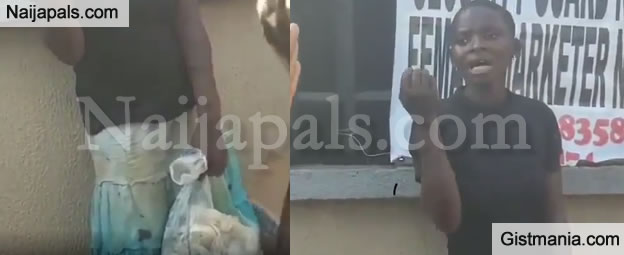 VIDEO: Lady Caught Stealing Used Baby Diapers And Wipes In Asaba, Delta State