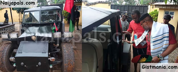 Check Out IPOB Leader, Nnamdi Kanu's Customized Combatant Car Manufactured By An Igbo Man (Photos)
