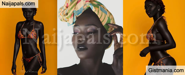 """Meet The Pretty Very Dark Sudanese Model That Is Nicknamed """"Queen Of The Dark"""" (Photos)"""
