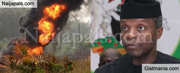 Oops: Less Than 24hrs After Osinbajo's Visit, NPDC Crude Oil Pipeline Set Ablaze In Delta