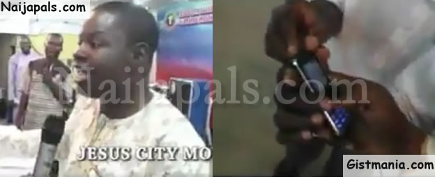 HILARIOUS! Pastor Prays Recharge Card Into Church Members' Phones In Ogun State (VIDEO)
