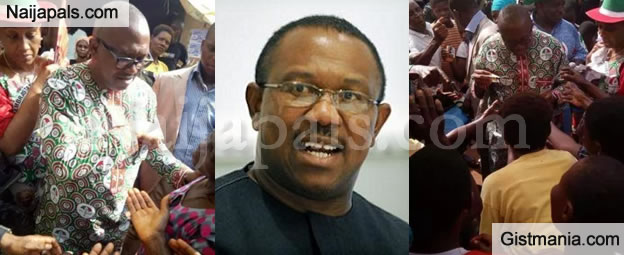Former Governor, Peter Obi Spotted Sharing Money To Traders Ahead Of Anambra Governorship Elections