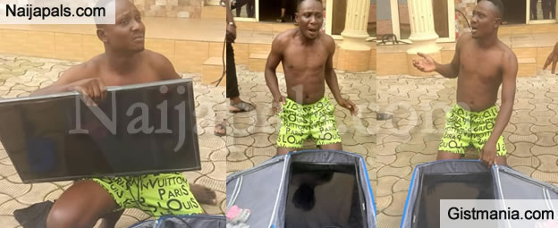 Man Caught After Stealing Hotel's Plasma TV With A Trolley Bag In Makurdi, Benue State (Photos)