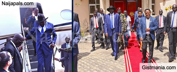PHOTOS: Prophet TB Joshua Received By President Salva Kiir & His Wife As He Arrives At Juba Int'l Airport, South Sudan