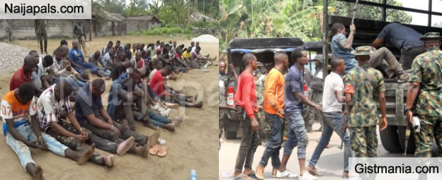 Suspected Thugs Arrested By Nigerian Army At Olakwo II Etche, Rivers State (Photos)