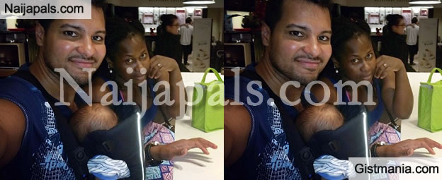 Uche Jumbo Spotted Enjoying Quality Family Time With Her White Husband and Son
