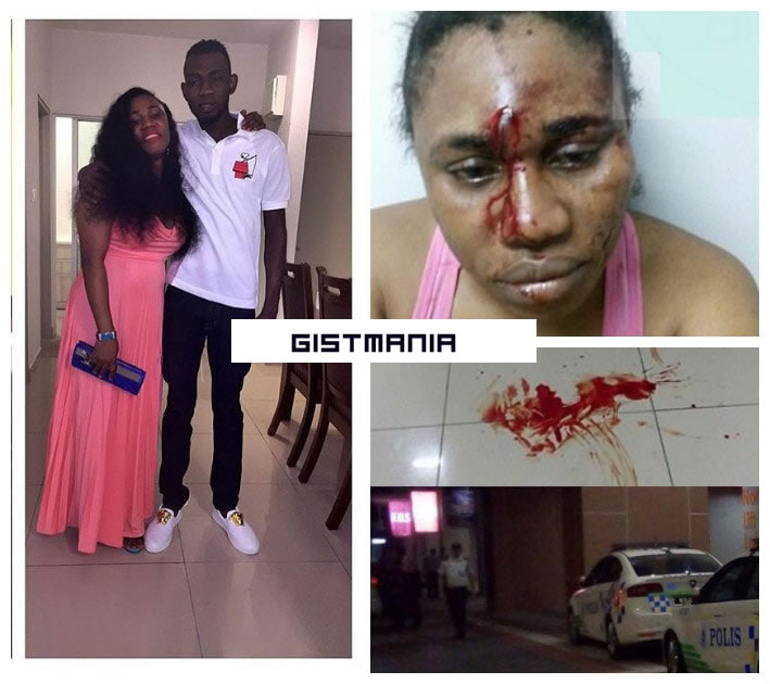 Nigerian Man Living In Malaysia Arrested By police For Stabbing His Wife With Bottle - Photos
