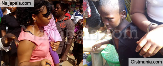 PHOTOS: Woman Almost Lynched In Onitsha For Allegedly Abusing Her Maid In Public