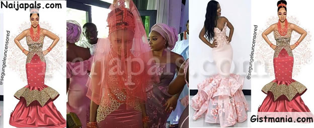 #BAAD2017! Adesua Etomi's Wedding Dress 'Maker' Accused Of Stealing Design (Photos)
