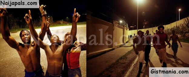 African Migrants Thank God After Successfully Breaking The Fence of Spanish Border (Pics)