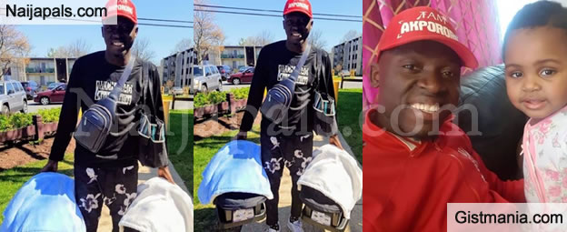 DADDY'S GOAL! Comedian, Akpororo Takes a Stroll With His New Born Twins For The First Time (Photos)