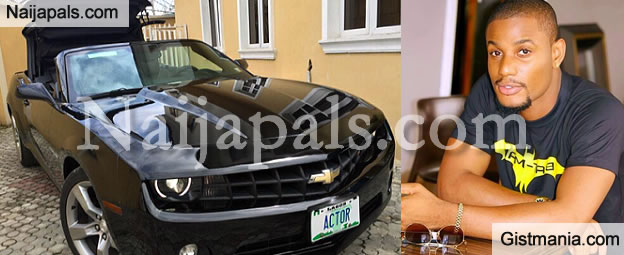 NollywoodActor Alex Ekubo Acquires A Camaro Chevrolet Sports Car [Photo]