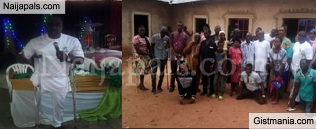 TOUCHING! Pastor With An Amputated Leg, Uchechukwu Hosted 50 Physically Challenged Persons In Nsukka