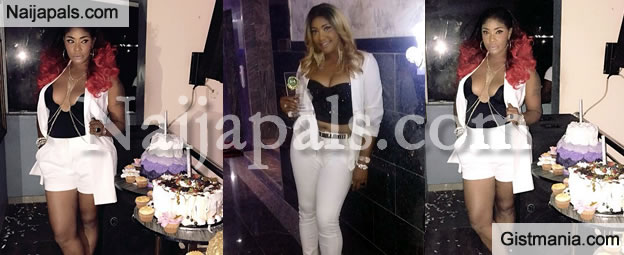 Tiger-Eye Angela Okorie Bares Her Cleavage For Her 30 Something Birthday Celebration