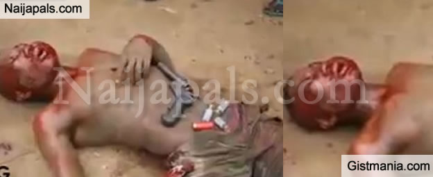 Photos: Shocking Moment an Armed Robber is Beaten and Burnt Alive