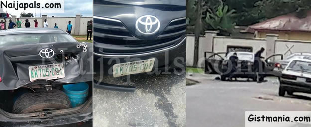 Armed Robbers Attack Government Car Carrying Huge Money In Akwa Ibom (Photos)