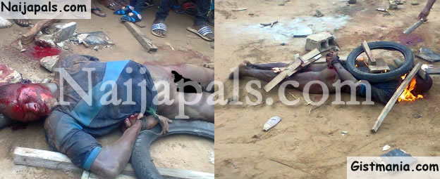 Notorious Rapist, Badoo Beaten And Burnt To Death By Ikorodu Residents (Graphic Photos)