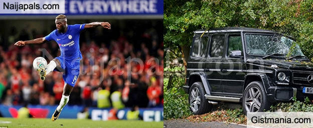 SMH! Chelsea New Star, Tiemoue Bakayoko Crashes His Mercedes SUV While Returning From Training
