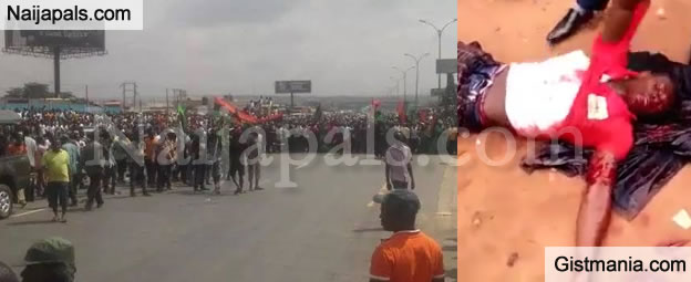 HAPPENING NOW! Soldiers And Biafrian Supporters Clash In Onitsha, (Photos)