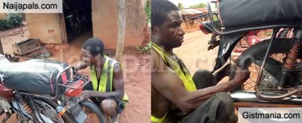 Photos: Meet Emeka Abugu, A Blind Vulcanizer & Mechanic In Enugu