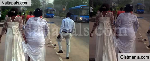 #LagosMarathon Forces This Woman To Trek To Church On Her Wedding Day - Photos