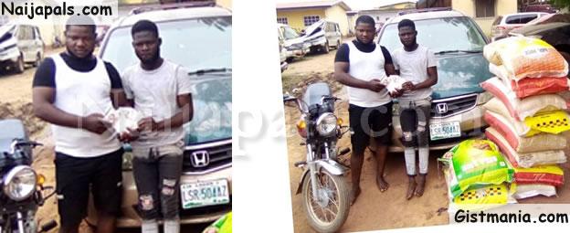 Brothers, Sunday & Felix Onikoyi Nabbed Buying Rice With Fake Naira Notes (Photo)