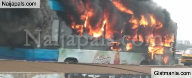 BRT Bus Currently In Flames On The Third Mainland Bridge In Lagos State