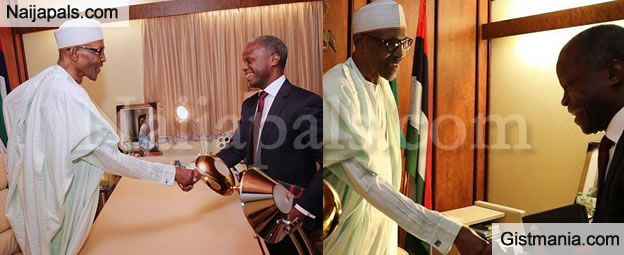 VP Osinbajo In A Very Happy Mood As He Meets With President Buhari In His Office Today (PHOTO)
