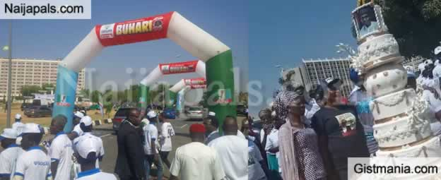 Nigerians Converge To Mark President Buhari's Birthday At Unity Fountain in Abuja (Photos)