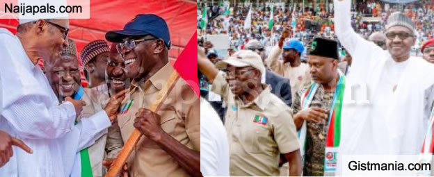 President Buhari Looking Feeble, Watch Viral Video of Him Almost Falling During APC Rally in Lokoja