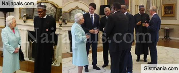 Photos Of President Buhari & Queen Elizabeth Discussing At CHOGM In Malta