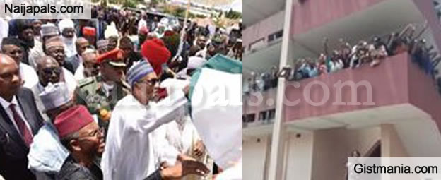 Students Go Wild To Welcome Buhari As He Arrives ABU Zaria To Commission Some Projects (Video)