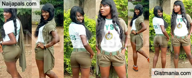 Female NYSC Member Under Serious Fire After She Wore Her Uniform Like This (Photos)