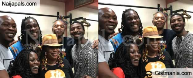 Burna Boy Poses With The Fela Kuti Family (Photo)