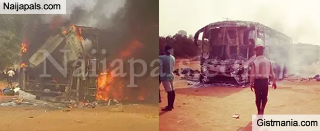 Passengers Cheat Death As Young Shall Grow Bus Bursts Into Flame Along Onitsha Exp.Way - Photos