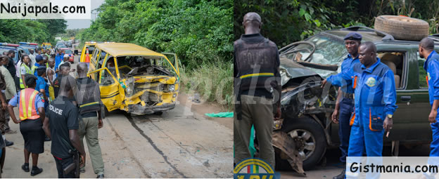 Danfo Bus in Head on Collision with Jeep Along Imota Road In Lagos (PHOTOS)