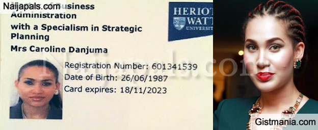 Caroline Danjuma Shares Photo of Her Master's Degree ID Card to Prove She is 28