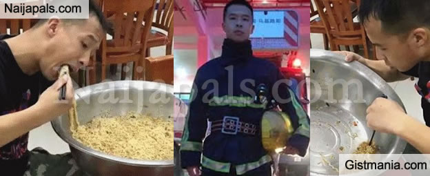 HOLY MOLY! See The Big Bowl Of Noodles This Guy Ate After Working 2days Non-Stop (Photos)